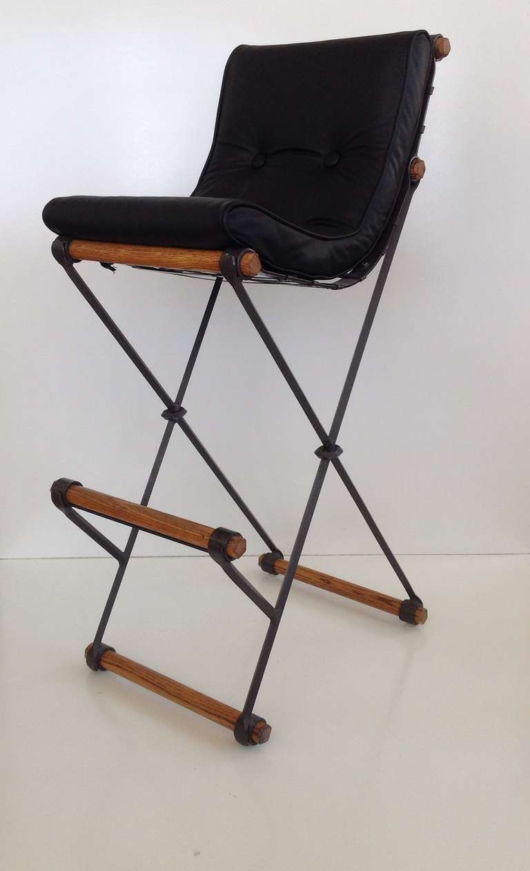 Pair Of High Back Campaign Barstools Designed By Cleo