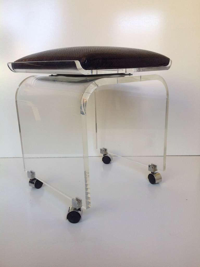Acrylic Swivel Top Vanity Stool Designed By Charles Hollis