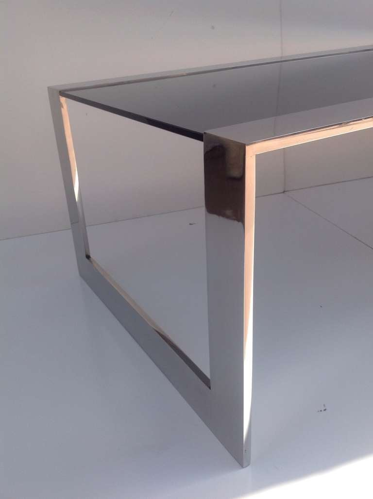 Smoked Glass And Polished Stainless Steel Coffee Cocktail Table By Brueton For Sale At 1stdibs