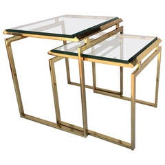 Polished Brass and Beveled Glass Nesting Tables Designed by Milo Baughman