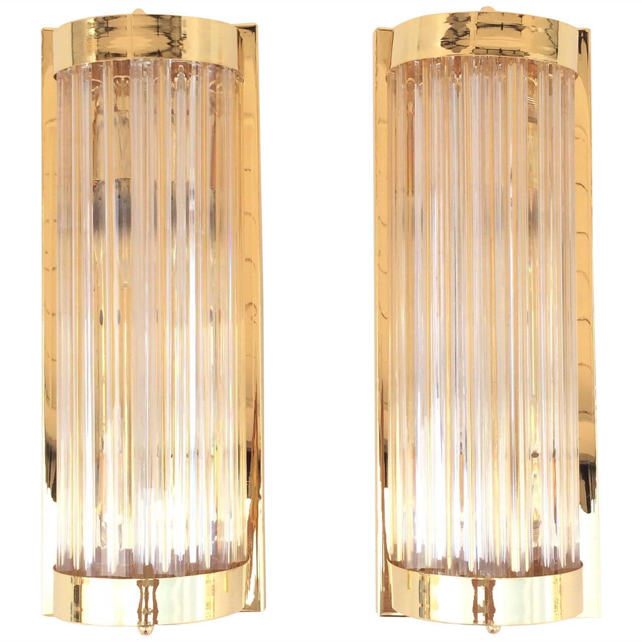 phenomenal polished brass with murano glass rods wall sconces by  - phenomenal polished brass with murano glass rods wall sconces by venini