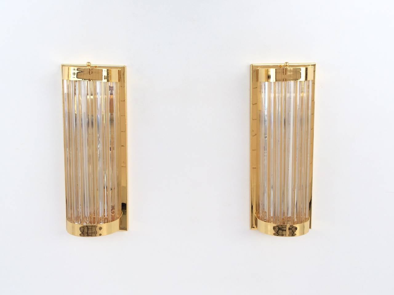 Phenomenal Polished Brass with Murano Glass Rods Wall Sconces by Venini at 1stdibs