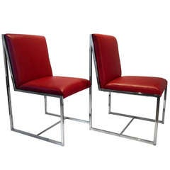 A pair of  Milo Baughman Side Chairs