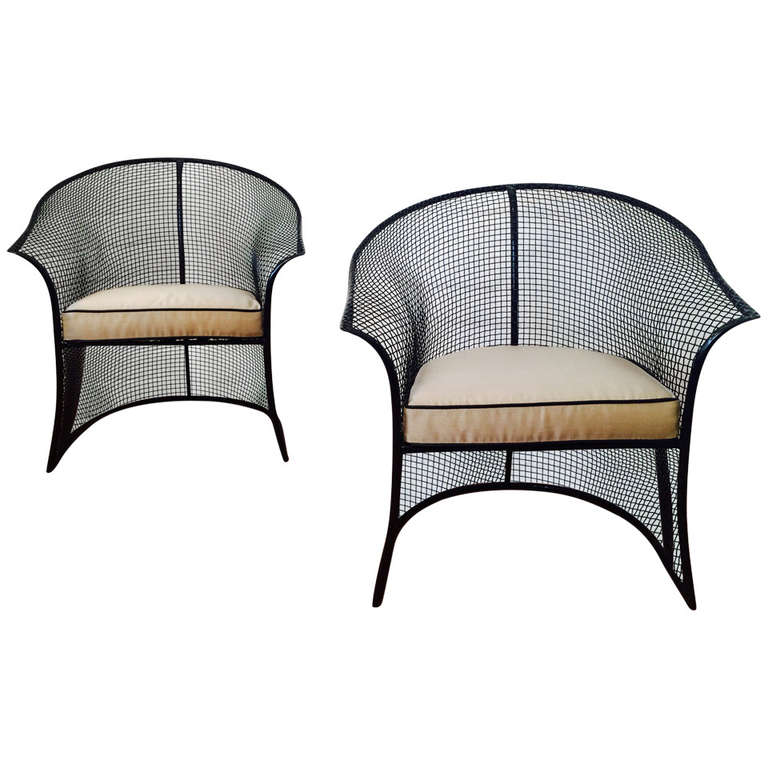 gorgeous pair of mesh woodard patio chairs at 1stdibs