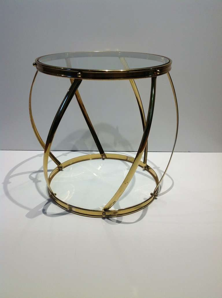 Polished brass and glass drum side table at 1stdibs for Drum side table