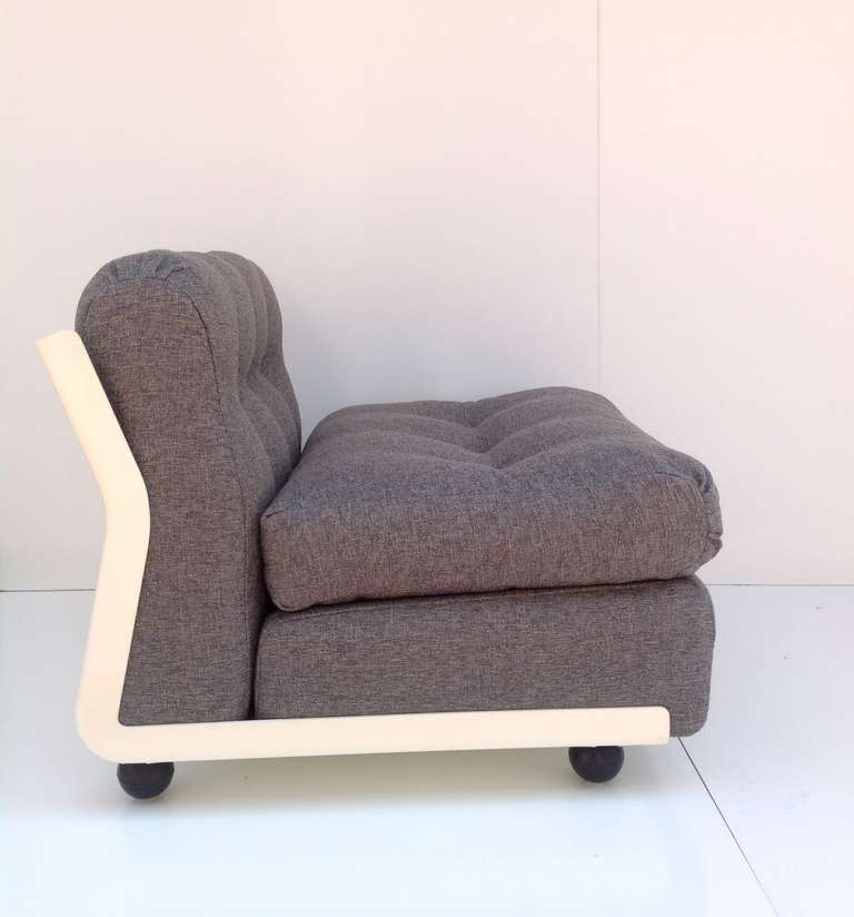 Pair Of Amanta Lounge Group Chairs With Ottoman Designed