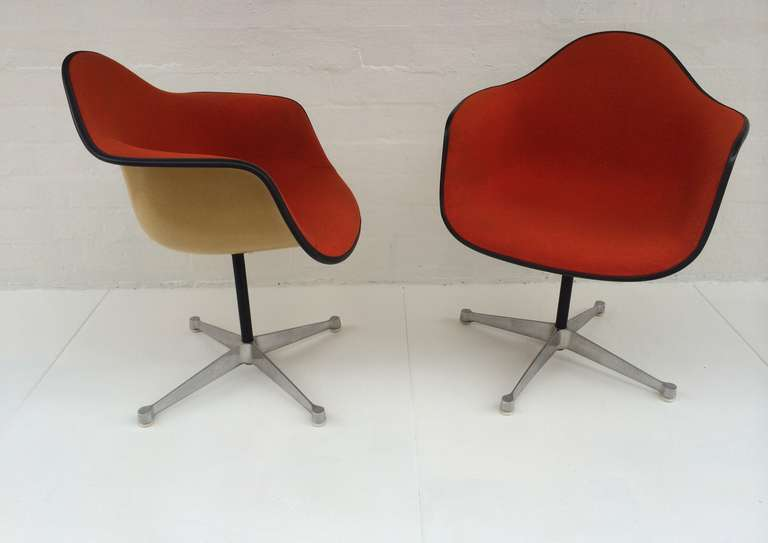 Pair Of Eames Upholstered Bucket Swivel Chairs For Herman
