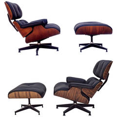 Pair of Early Eames Rosewood 670 & 671 Lounges Chairs with Ottomans