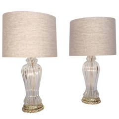 Pair of Murano Glass Table Lamps Made by Marbro Lamp Company