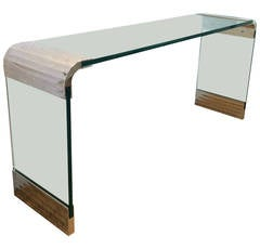 Scalloped Nickel and Glass Console Table by Leon Rosen for Pace Collection