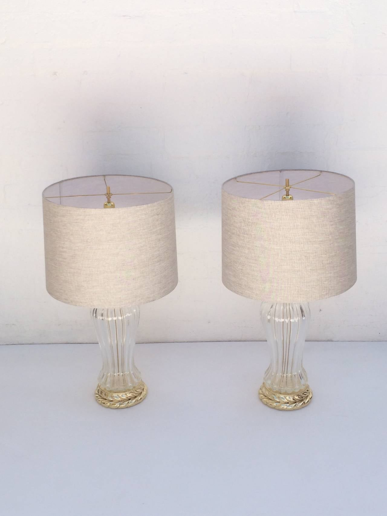Mid-Century Modern Pair of Murano Glass Table Lamps Made by Marbro Lamp Company For Sale