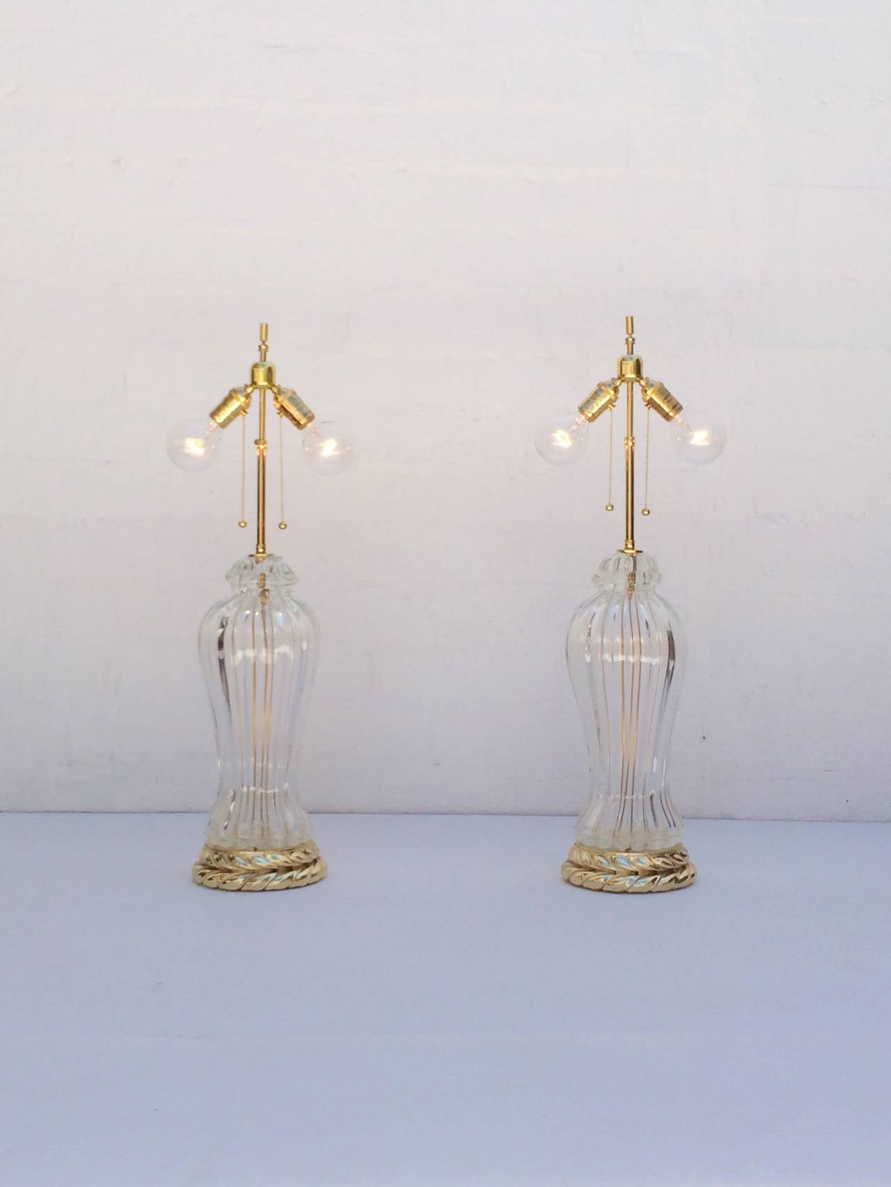 Italian Pair of Murano Glass Table Lamps Made by Marbro Lamp Company For Sale