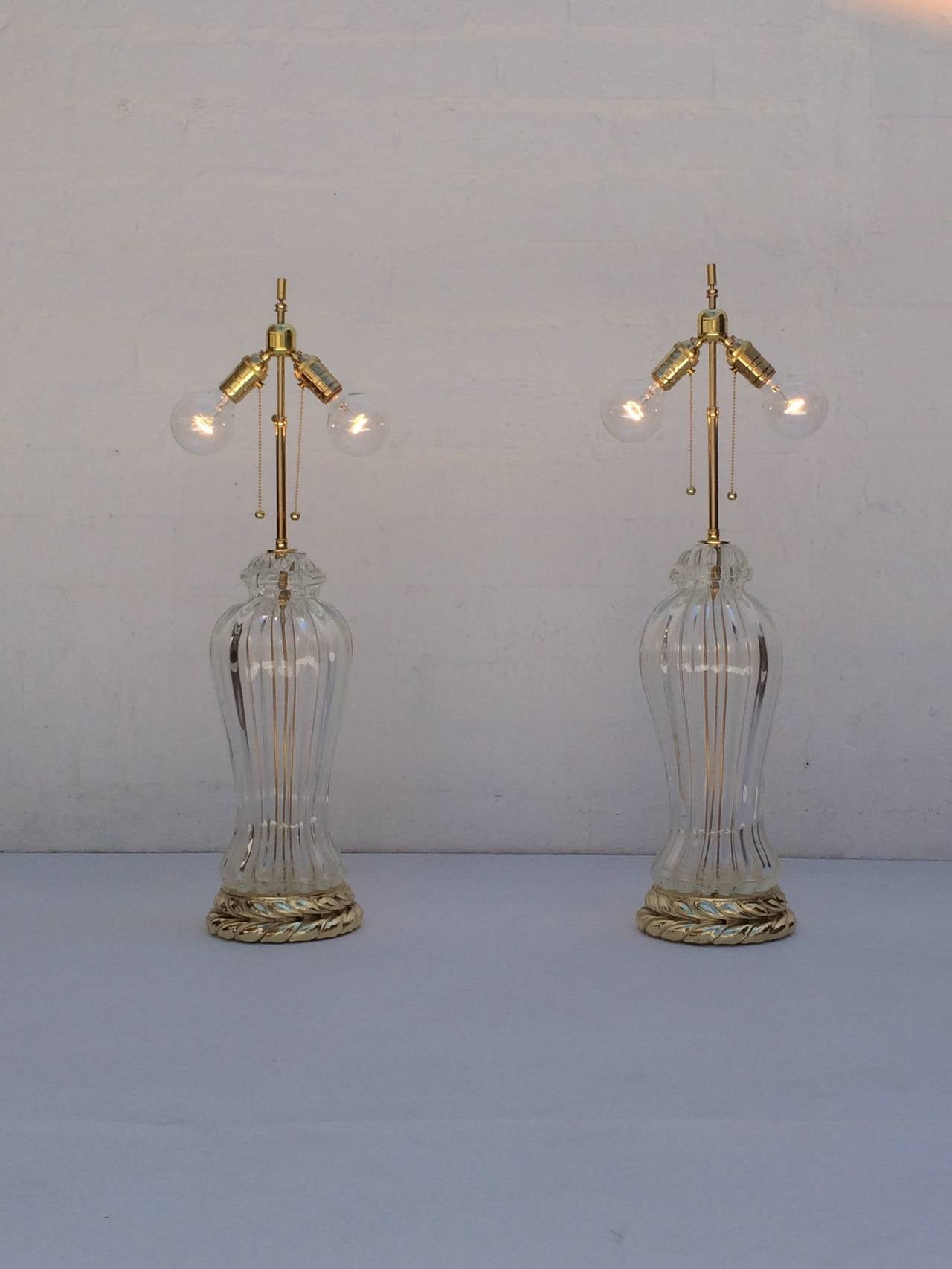 Brass Pair of Murano Glass Table Lamps Made by Marbro Lamp Company For Sale