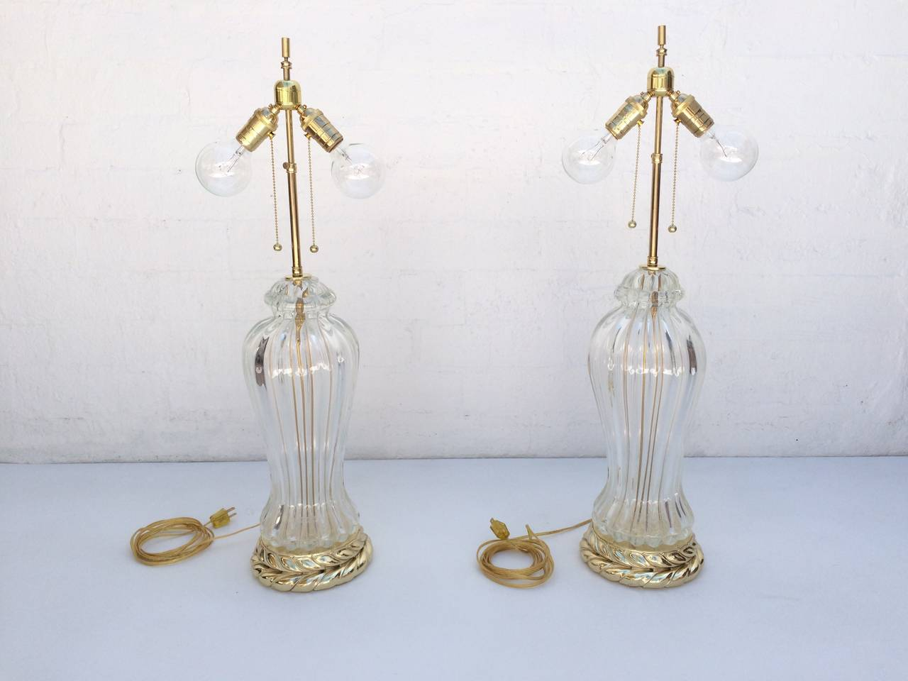 Mid-20th Century Pair of Murano Glass Table Lamps Made by Marbro Lamp Company For Sale