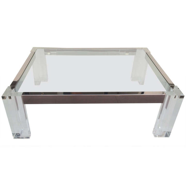 Delightful Acrylic And Polished Chrome Coffee/Cocktail Table By John Mascheroni 1