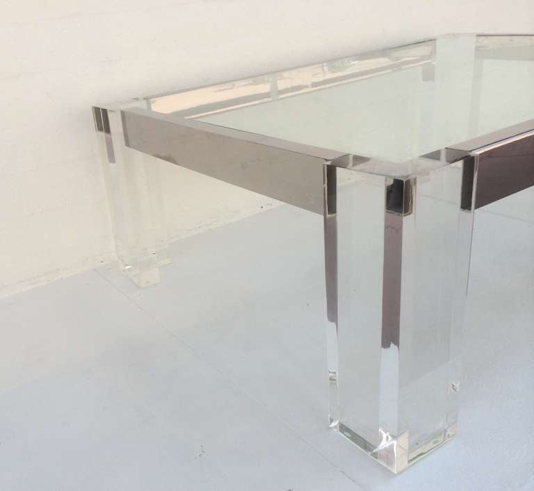 Acrylic And Polished Chrome Coffee/Cocktail Table By John