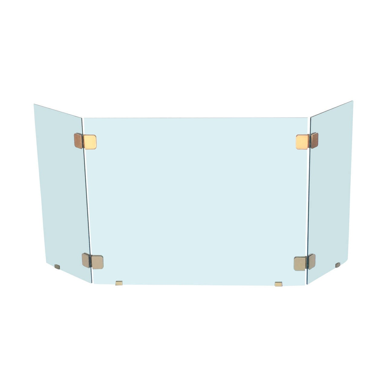 beveled glass and brushed brass folding fireplace screen by pace