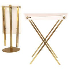 White Acrylic and Polished Brass Tray Tables with Stand by Charles Hollis Jones