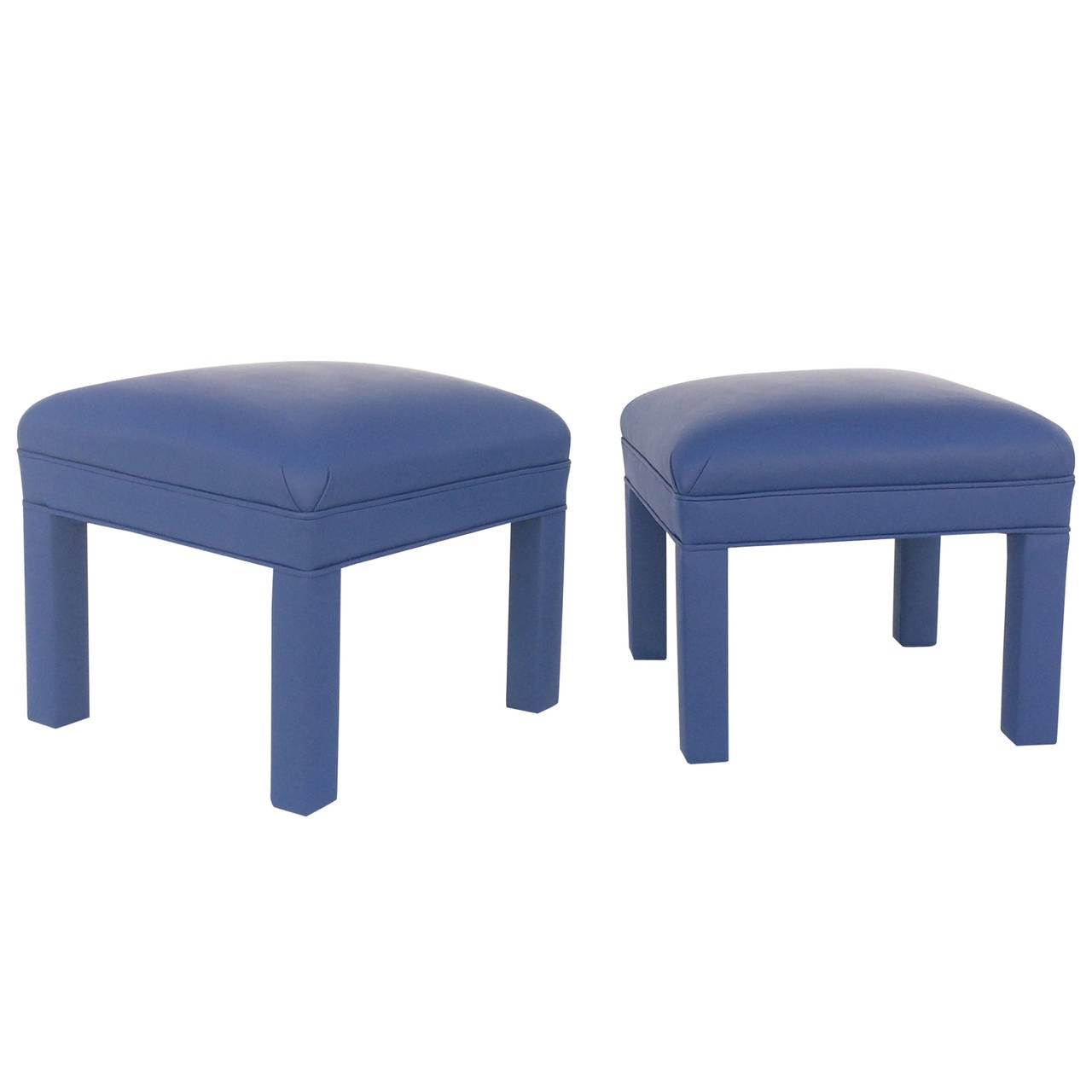Pair of Newly Reupholstered Ottomans or Low Stools, circa 1980s