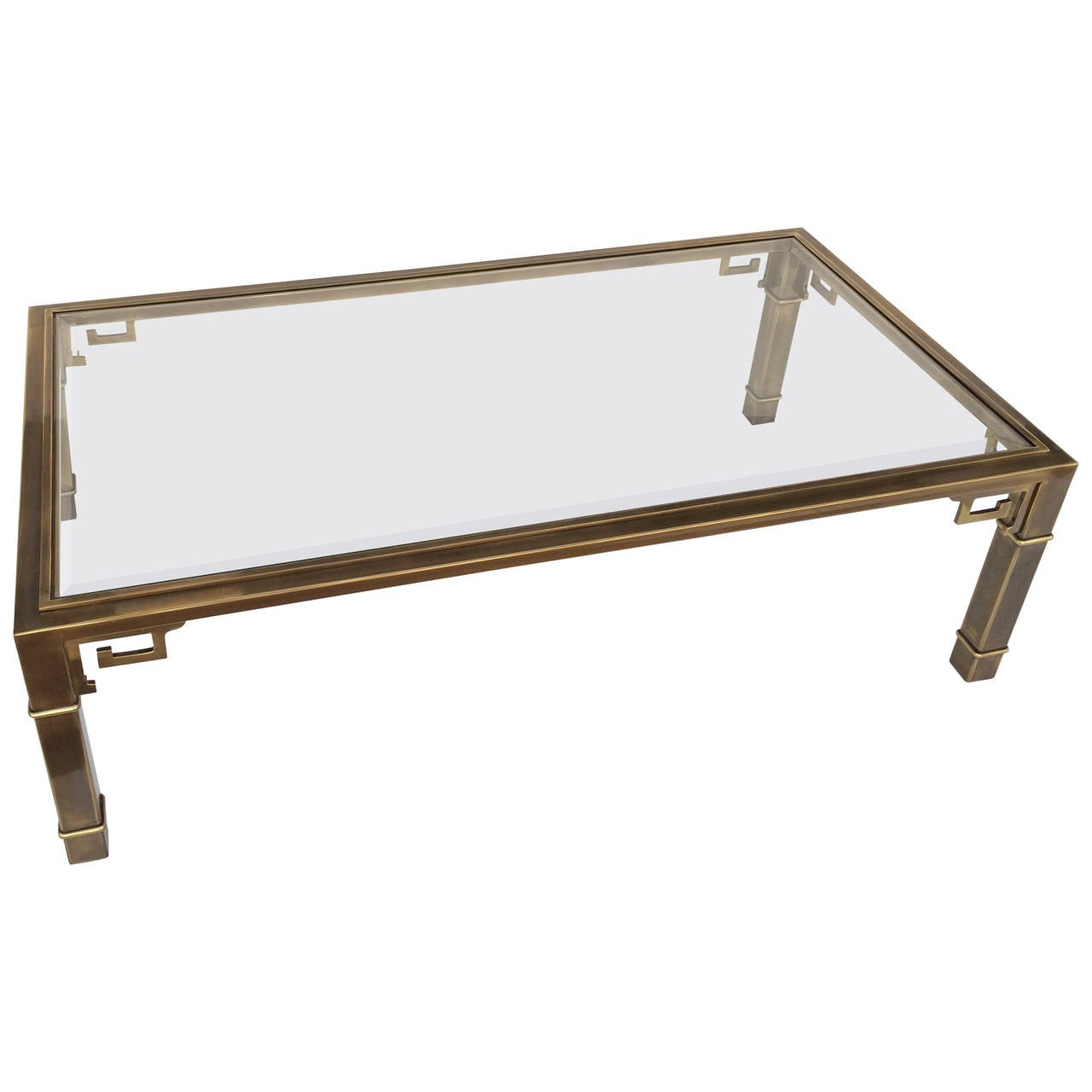 "Brass ""Greek Key"" Coffee Or Cocktail Table By Mastercraft"