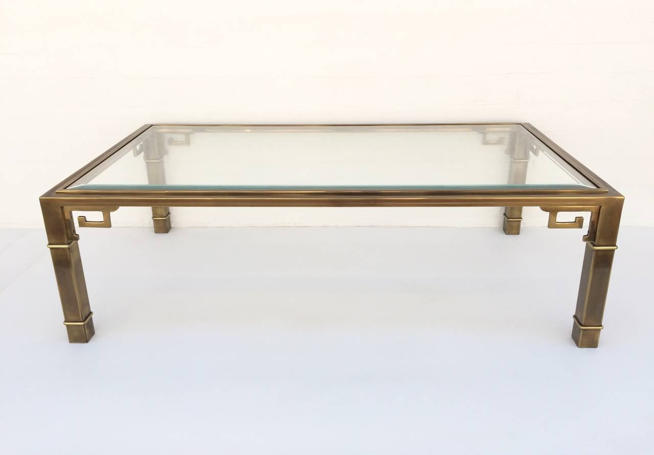 Brass Greek Key Coffee Or Cocktail Table By Mastercraft At 1stdibs