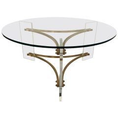 Brushed Brass and Acrylic Coffee or Cocktail Table by Charles Hollis Jones