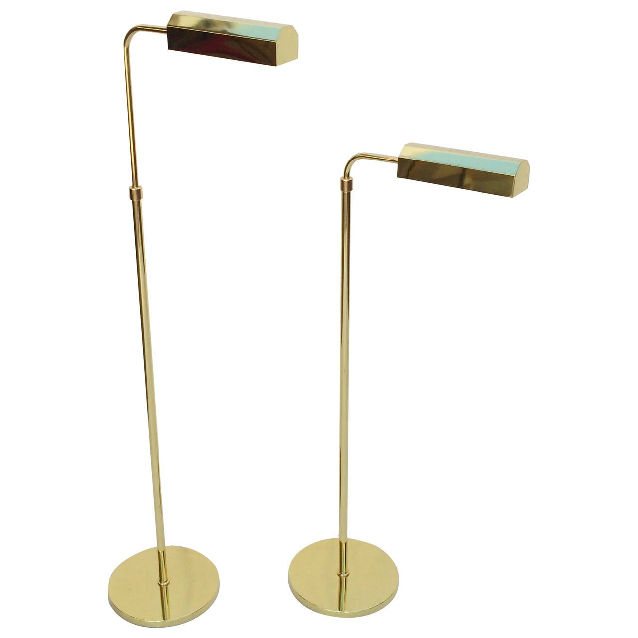 Pair of Polished Brass Adjustable Floor Lamps by Casella