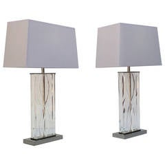 Stunning pair of Acrylic and Polished Nickel Lamps