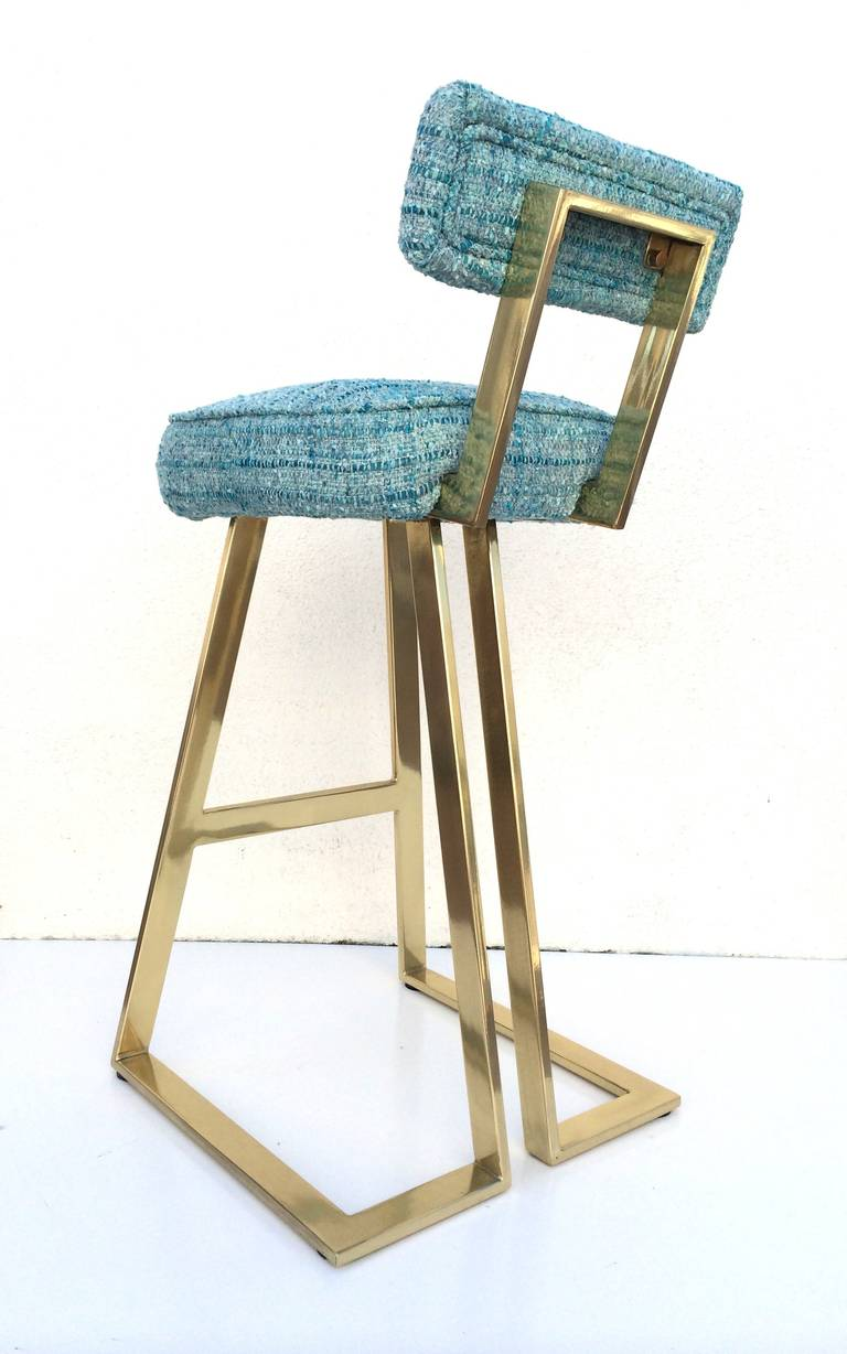 rare polished brass with blue chanel fabric barstool by charles hollis jones 2
