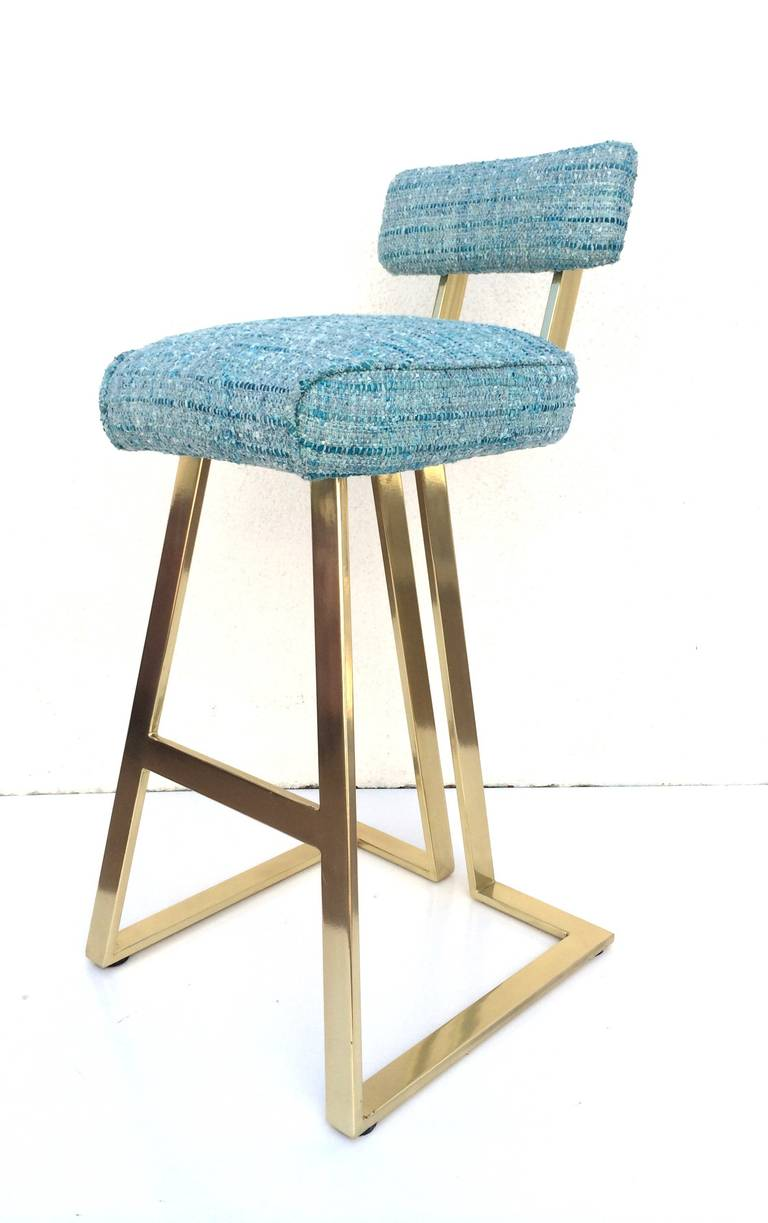 rare polished brass with blue chanel fabric barstool by charles hollis jones 3