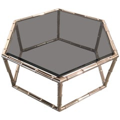 Faux Bamboo Nickel and Smoked Glass Cocktail Table by Mastercraft