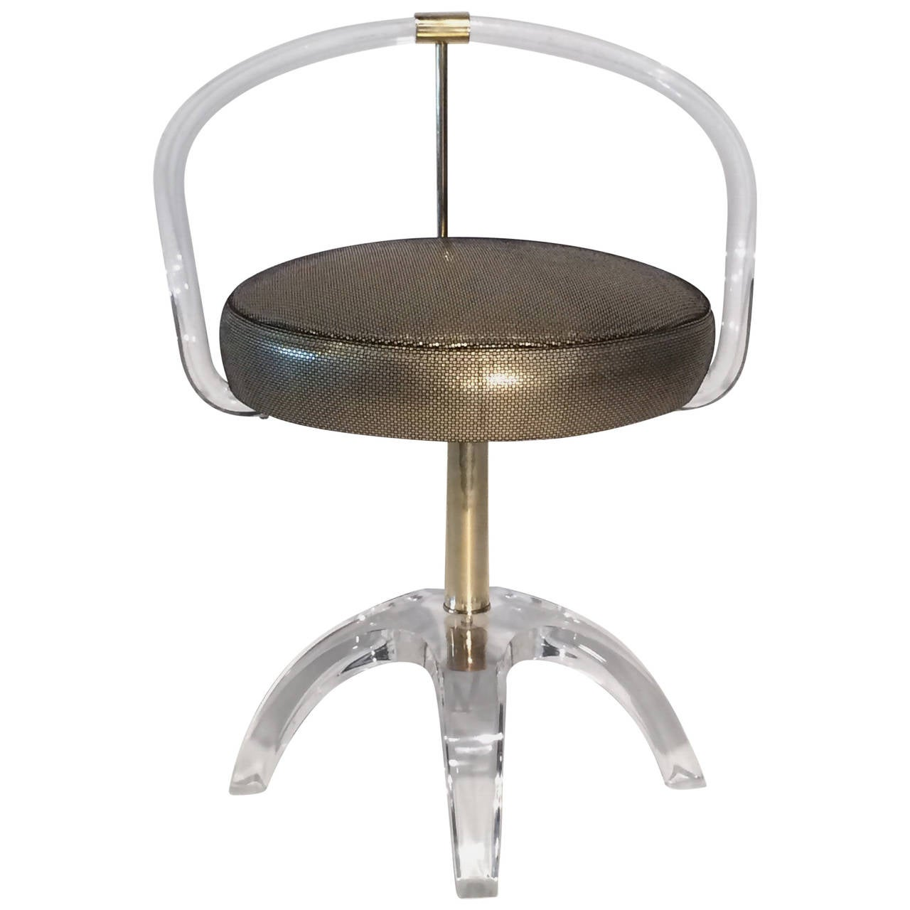 Acrylic and brass swivel vanity stool by charles hollis jones at 1stdibs - Acrylic vanity chair ...
