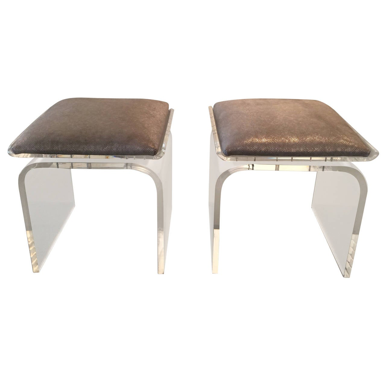 Pair Of Swivel Top Acrylic Quot Waterfall Quot Stools By Charles