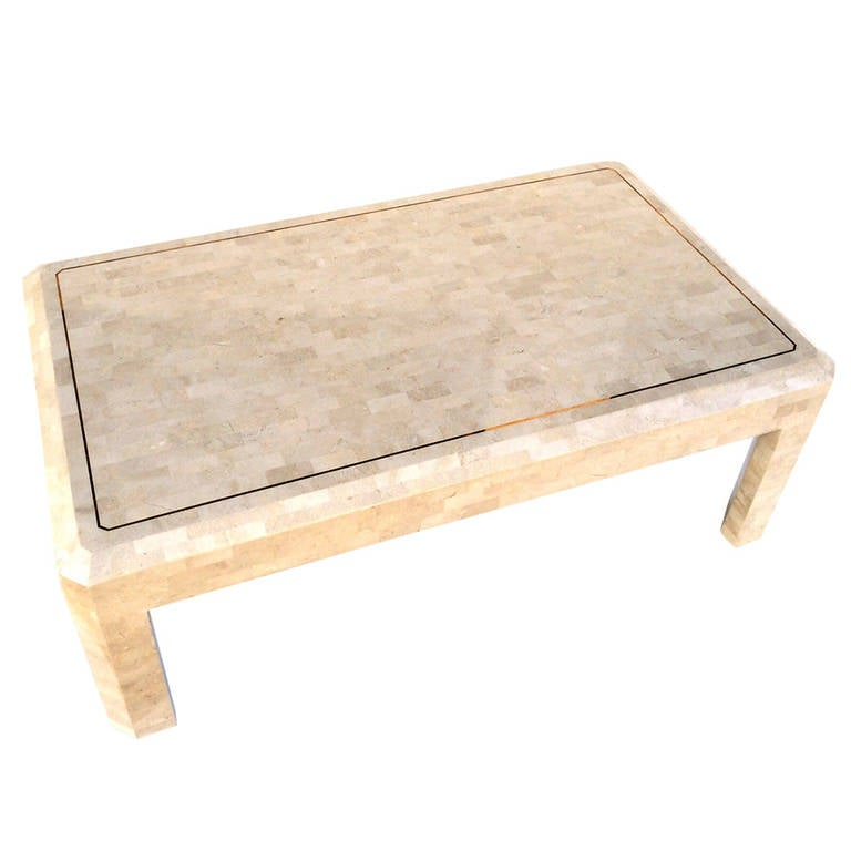 Tessellated Fossil Stone with Inlaid Brass Table by Maitland-Smith