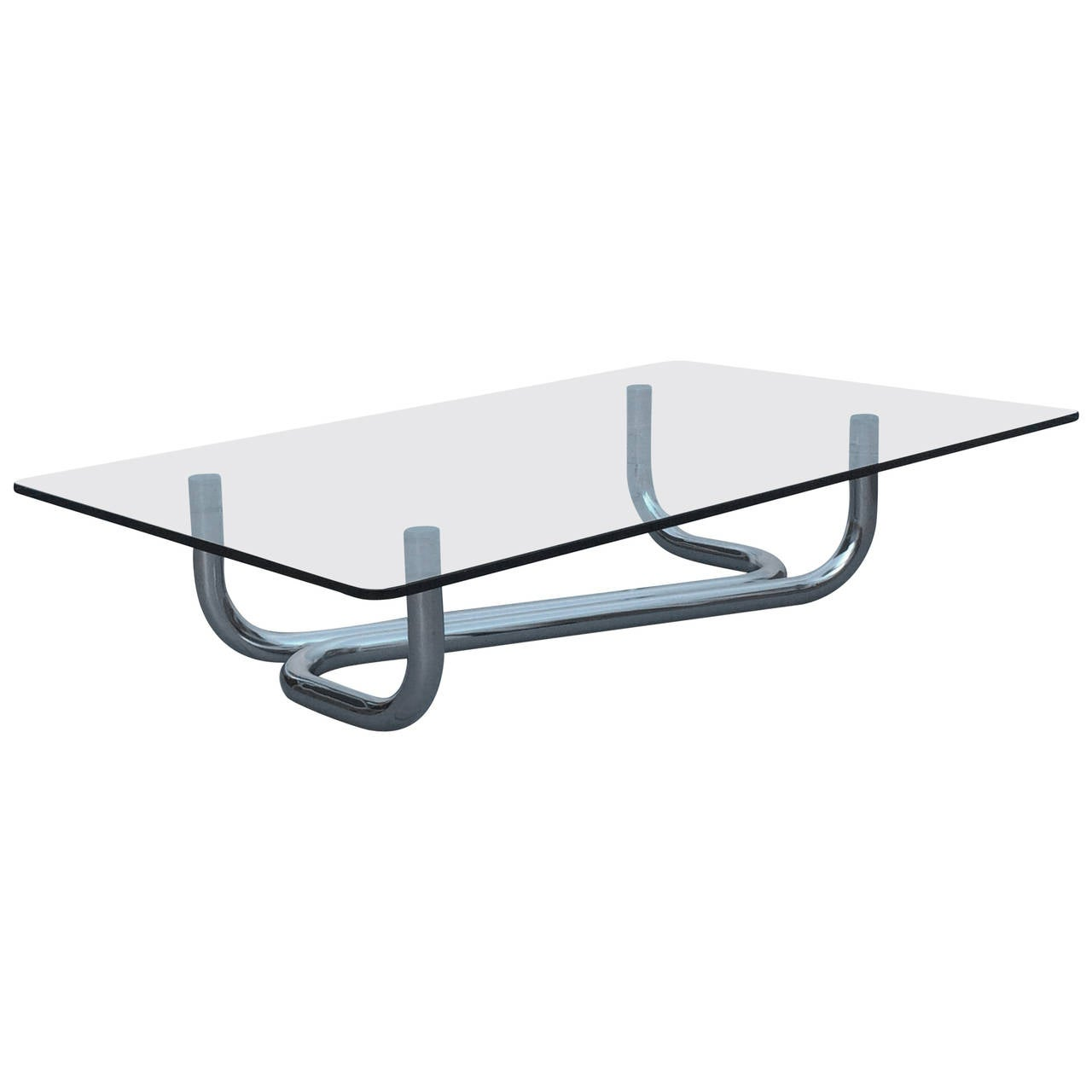 Italian Polished Chrome And Glass Cocktail Table At 1stdibs