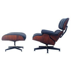 Early Rosewood Eames Lounge Chairs with Ottoman