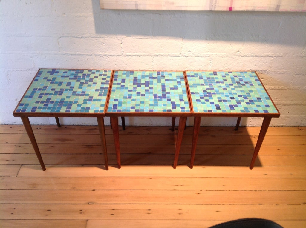 A set of three glass tile top occasional tables at 1stdibs for Glass top occasional tables