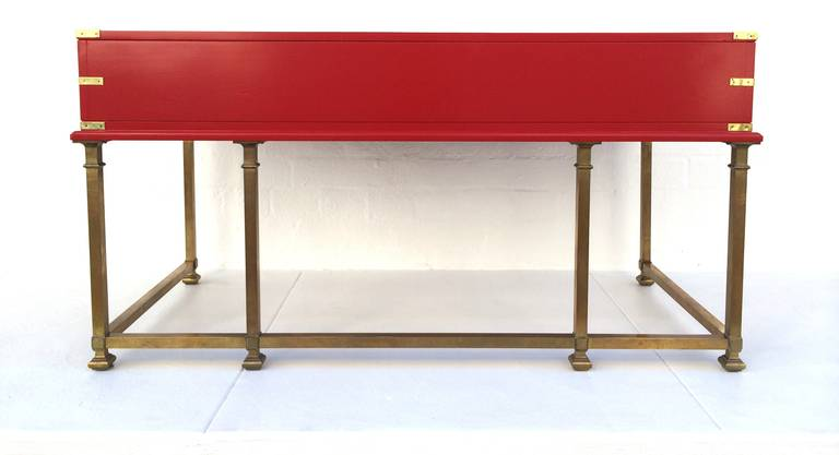 Red Lacquered With Brass Campaign Desk At 1stdibs