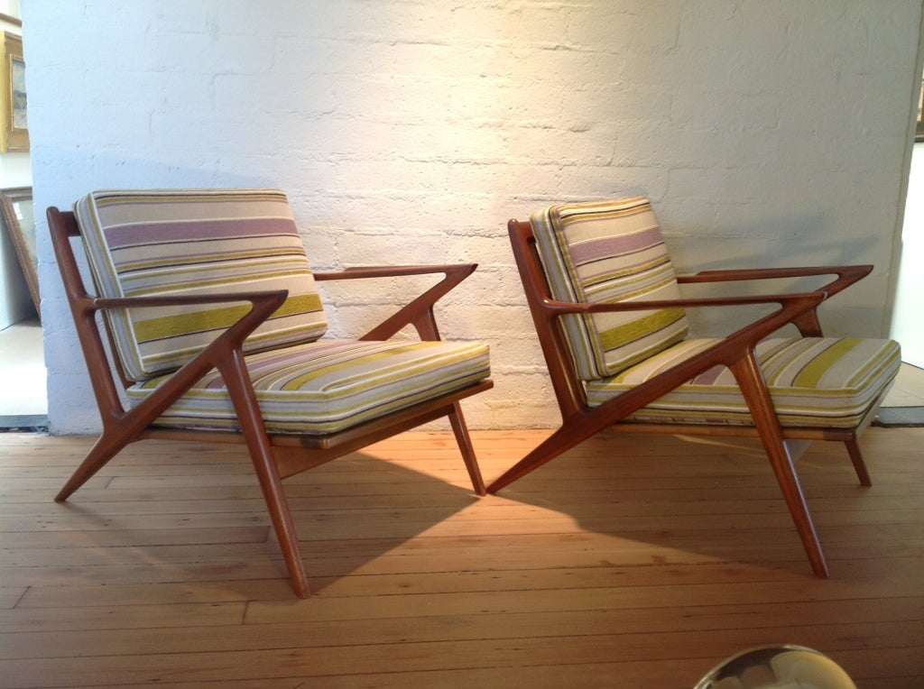 A pair of danish z chairs and ottoman by poul jensen for Poul jensen z chair