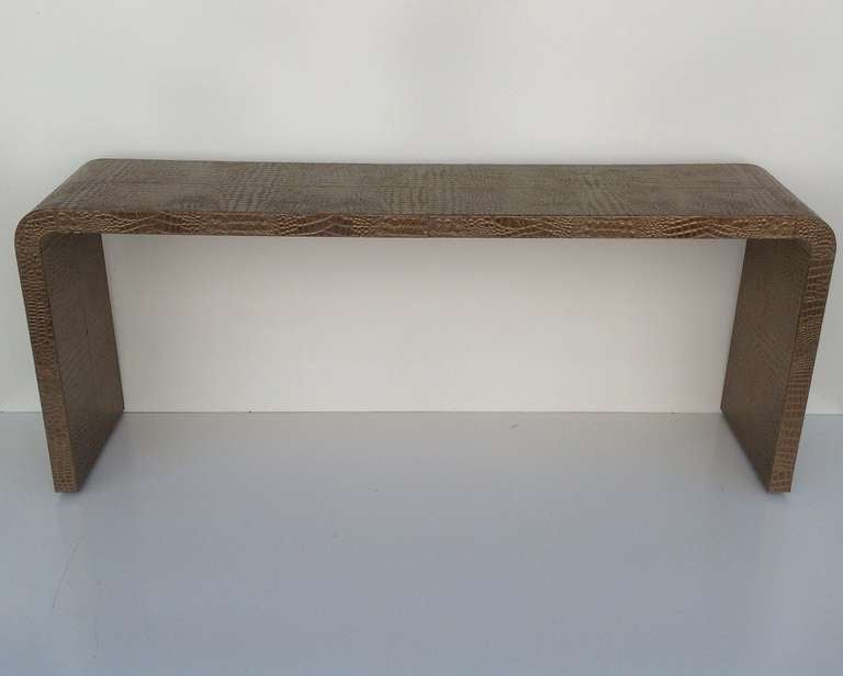 Gorgeous Leather Console Table With A Faux Crocodile