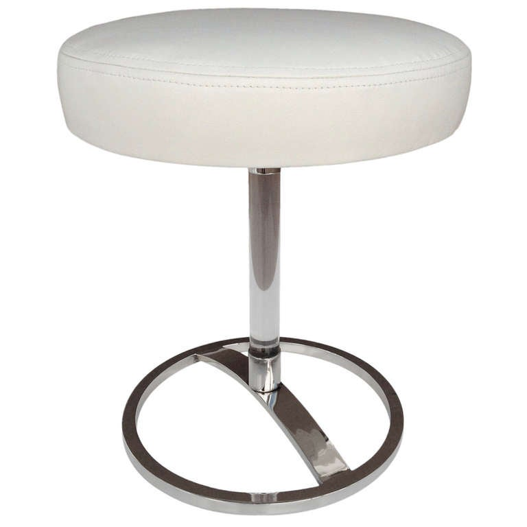 Nickel And Acrylic Vanity Stool Designed By Charles Hollis