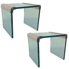 Pair of Nickel & Glass Side Tables by Pace Collection