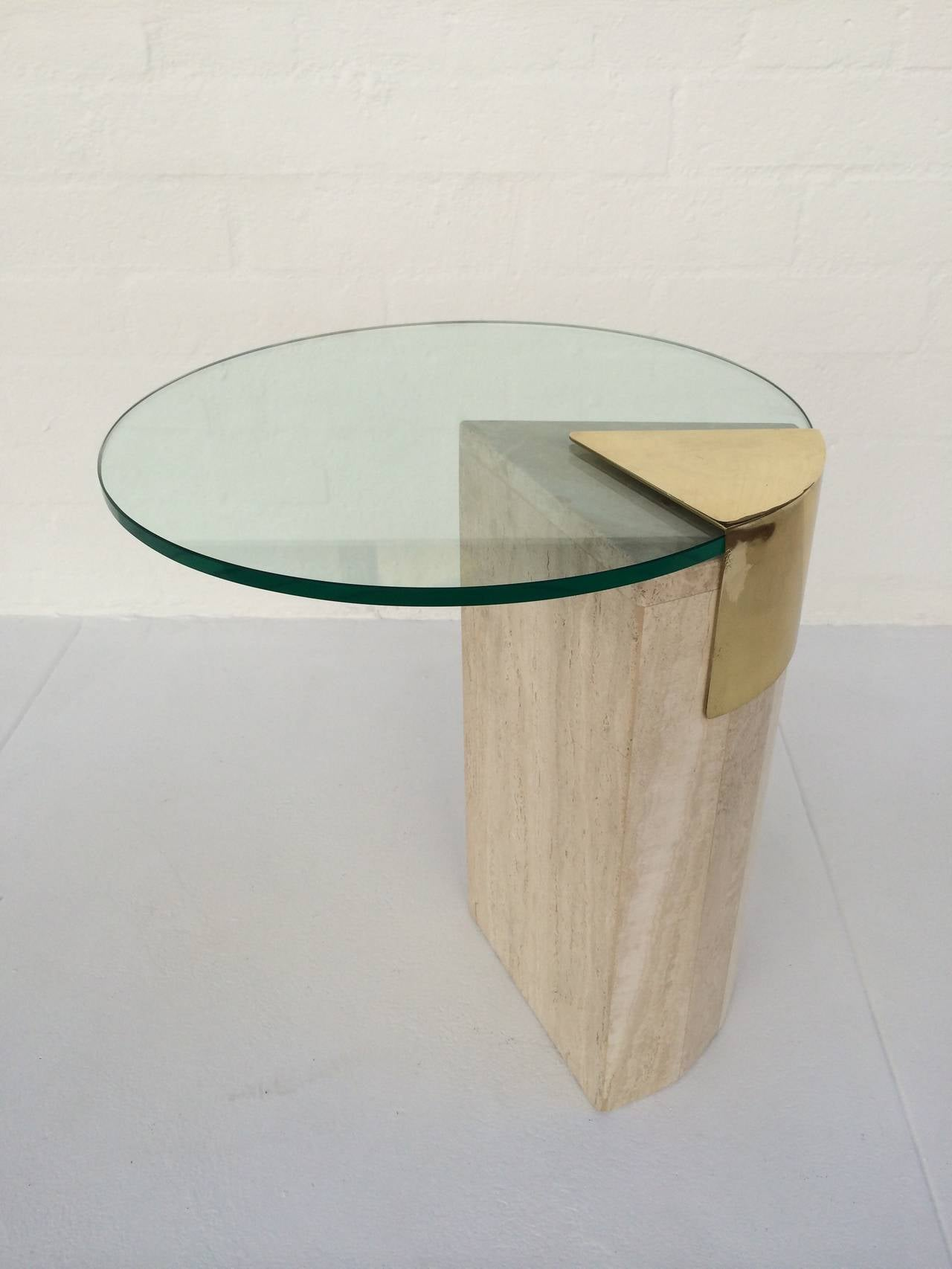 Travertine and Brass with Glass Side Table by Pace Collection at