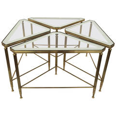 Set of Four Brass and Glass Tables by Maison Jansen