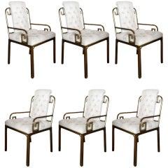 A set of six Mastercraft Greek Key chairs