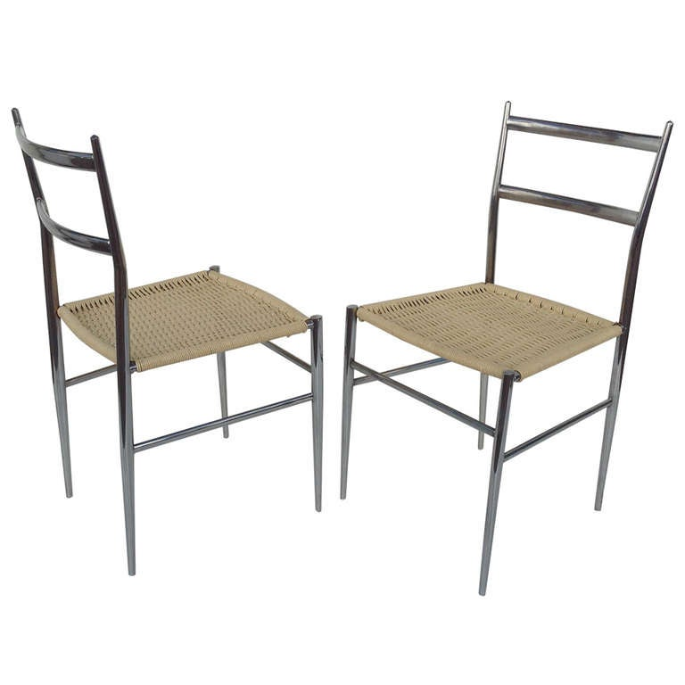 A Pair Of Chrome Chairs Attributed To Gio Ponti 1