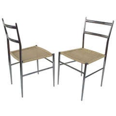 A Pair of Chrome Chairs Attributed to Gio Ponti