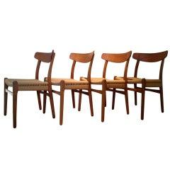 Set of four Hans Wegner dining chairs