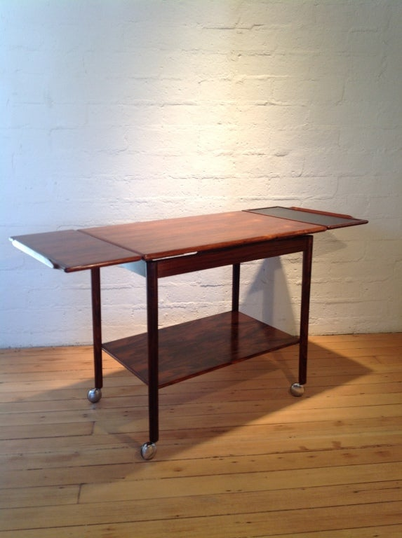 Danish Rosewood bar cart by Drylund For Sale