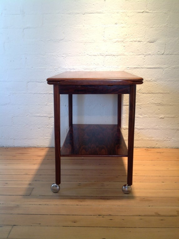 Mid-20th Century Rosewood bar cart by Drylund For Sale